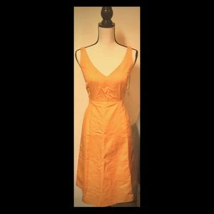 Orange Maxi Summer Dress V-Neck, Sz. 8